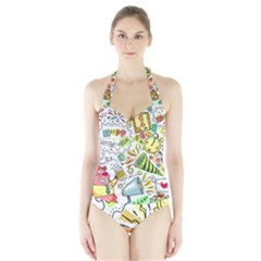 Doodle New Year Party Celebration Halter Swimsuit by Celenk