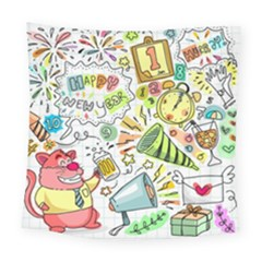 Doodle New Year Party Celebration Square Tapestry (large)