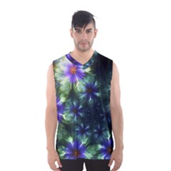 Fractal Painting Blue Floral Men s Basketball Tank Top