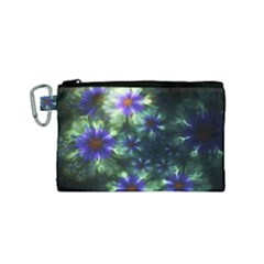 Fractal Painting Blue Floral Canvas Cosmetic Bag (small) by Celenk