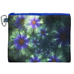 Fractal Painting Blue Floral Canvas Cosmetic Bag (xxl) by Celenk