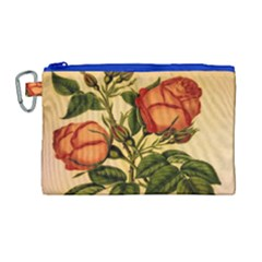 Vintage Flowers Floral Canvas Cosmetic Bag (large)