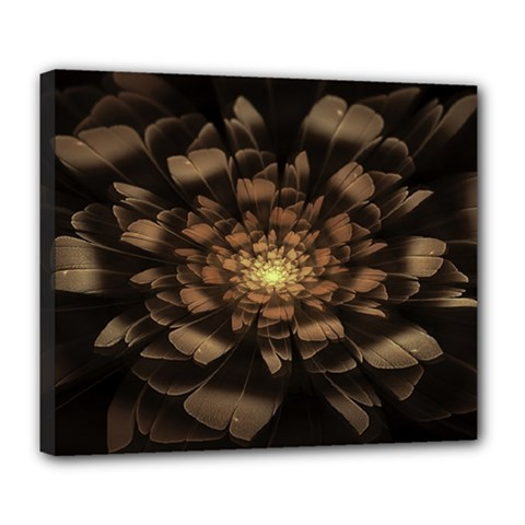 Fractal Flower Floral Bloom Brown Deluxe Canvas 24  X 20   by Celenk