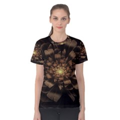 Fractal Flower Floral Bloom Brown Women s Cotton Tee