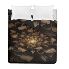 Fractal Flower Floral Bloom Brown Duvet Cover Double Side (full/ Double Size)