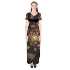 Fractal Flower Floral Bloom Brown Short Sleeve Maxi Dress