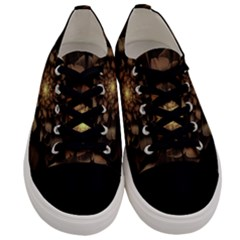 Fractal Flower Floral Bloom Brown Men s Low Top Canvas Sneakers