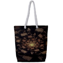 Fractal Flower Floral Bloom Brown Full Print Rope Handle Tote (small)