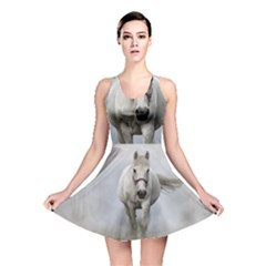 Horse Mammal White Horse Animal Reversible Skater Dress by Celenk