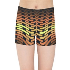Fractal Orange Texture Waves Kids Sports Shorts by Celenk
