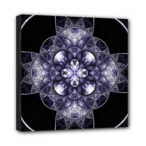 Fractal Blue Denim Stained Glass Mini Canvas 8  X 8  by Celenk