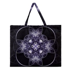 Fractal Blue Denim Stained Glass Zipper Large Tote Bag