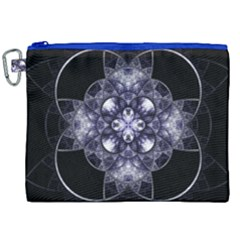 Fractal Blue Denim Stained Glass Canvas Cosmetic Bag (xxl) by Celenk
