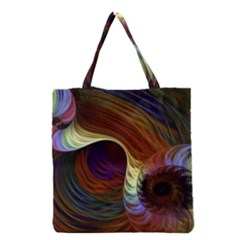 Fractal Colorful Rainbow Flowing Grocery Tote Bag by Celenk