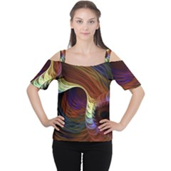 Fractal Colorful Rainbow Flowing Cutout Shoulder Tee