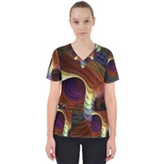 Fractal Colorful Rainbow Flowing Scrub Top by Celenk