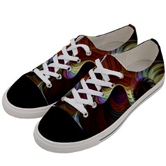 Fractal Colorful Rainbow Flowing Women s Low Top Canvas Sneakers by Celenk