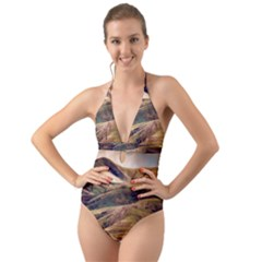 Iceland Mountains Sky Clouds Halter Cut Out One Piece Swimsuit