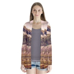 Iceland Mountains Sky Clouds Drape Collar Cardigan by Celenk