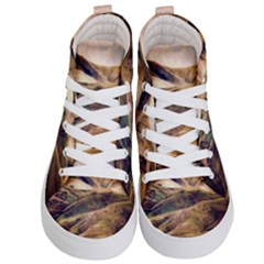 Iceland Mountains Sky Clouds Kid s Hi Top Skate Sneakers