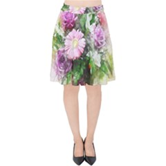 Flowers Roses Bouquet Art Nature Velvet High Waist Skirt
