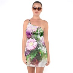 Flowers Roses Bouquet Art Nature One Soulder Bodycon Dress