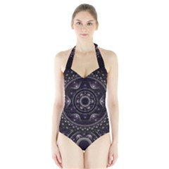 Fractal Mandala Circles Purple Halter Swimsuit