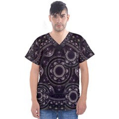 Fractal Mandala Circles Purple Men s V Neck Scrub Top