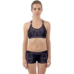 Fractal Mandala Circles Purple Back Web Sports Bra Set