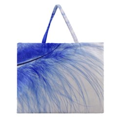 Spring Blue Colored Zipper Large Tote Bag