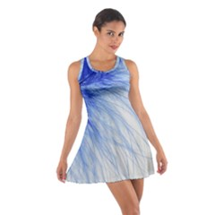 Spring Blue Colored Cotton Racerback Dress