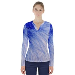 Spring Blue Colored V Neck Long Sleeve Top