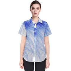 Spring Blue Colored Women s Short Sleeve Shirt