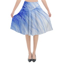 Spring Blue Colored Flared Midi Skirt