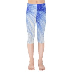 Spring Blue Colored Kids  Capri Leggings