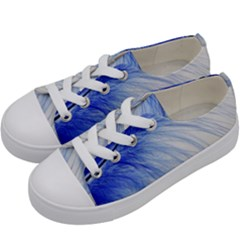 Spring Blue Colored Kids  Low Top Canvas Sneakers by Celenk