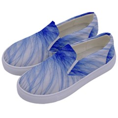 Spring Blue Colored Kids  Canvas Slip Ons by Celenk