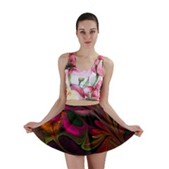 Fractal Abstract Colorful Floral Mini Skirt