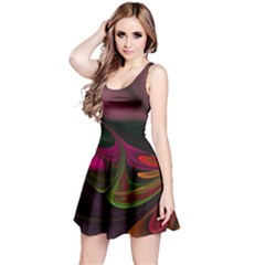 Fractal Abstract Colorful Floral Reversible Sleeveless Dress