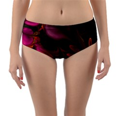 Fractal Abstract Colorful Floral Reversible Mid Waist Bikini Bottoms