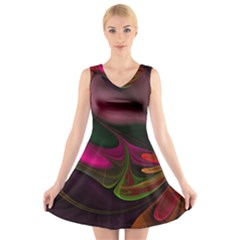 Fractal Abstract Colorful Floral V-neck Sleeveless Skater Dress