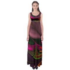 Fractal Abstract Colorful Floral Empire Waist Maxi Dress