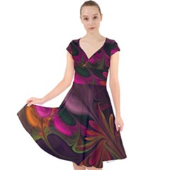Fractal Abstract Colorful Floral Cap Sleeve Front Wrap Midi Dress