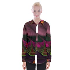 Fractal Abstract Colorful Floral Womens Long Sleeve Shirt