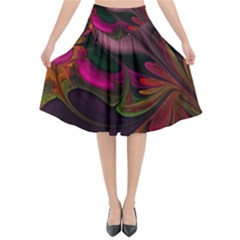 Fractal Abstract Colorful Floral Flared Midi Skirt