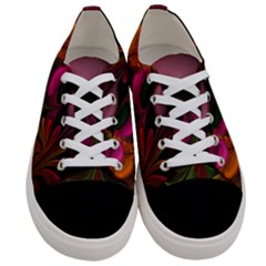 Fractal Abstract Colorful Floral Women s Low Top Canvas Sneakers