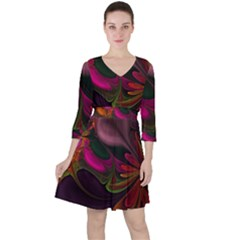 Fractal Abstract Colorful Floral Ruffle Dress