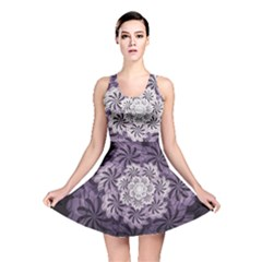 Fractal Floral Striped Lavender Reversible Skater Dress