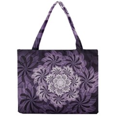 Fractal Floral Striped Lavender Mini Tote Bag