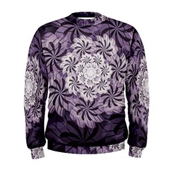 Fractal Floral Striped Lavender Men s Sweatshirt